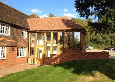 Oak framed lobby building in Sussex